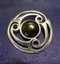 Circular Triple Swirl Pewter Brooch With Center Black Stone